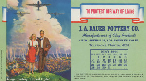 Bauer Pottery Desk Blotter - 1944