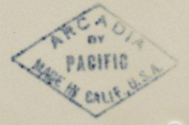 Pacific Pottery Arcadia Backstamp