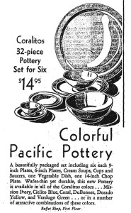 Pacific Pottery Coralitos Display Ad - Parmelee-Dohrmann, Los Angeles , Dec 1938