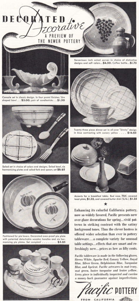 Pacific Pottery Decorated Hostessware Advertising - Better Homes April 1937