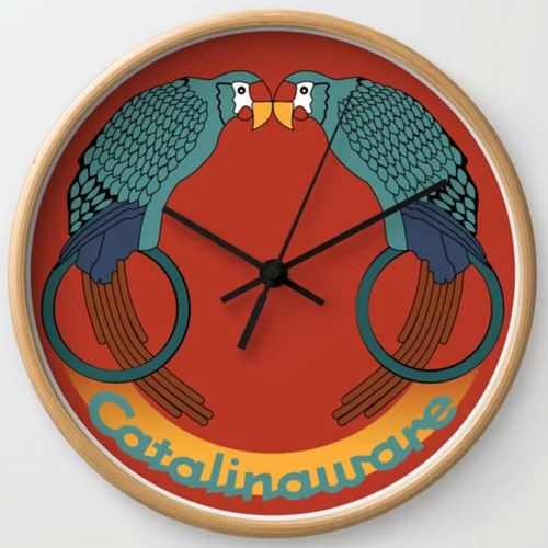Catalina Island Kissing Birds Clock