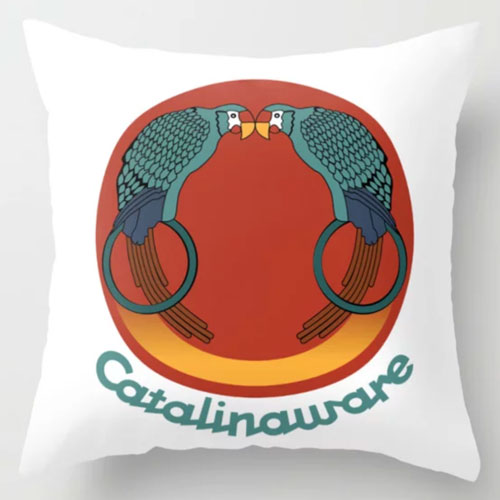 Catalina Island Kissing Birds Pillow