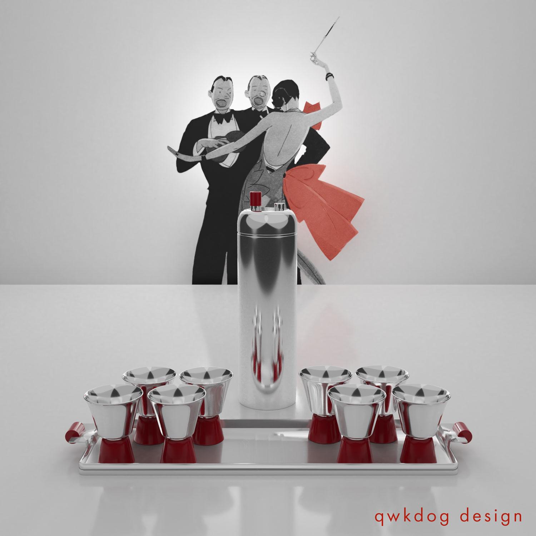 QwkDog 3D Art Deco Revere Zephyr Shaker Set
