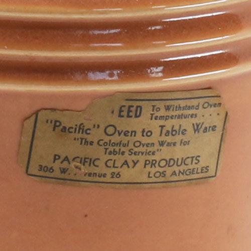 Pacific Pottery Hostessware 235 Beanpot Label