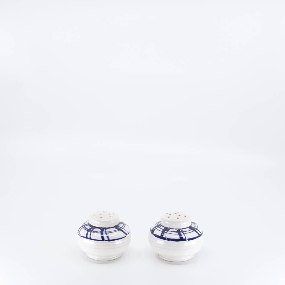 Pacific Pottery Hostessware 620-621 Salt & Pepper Dec BG White