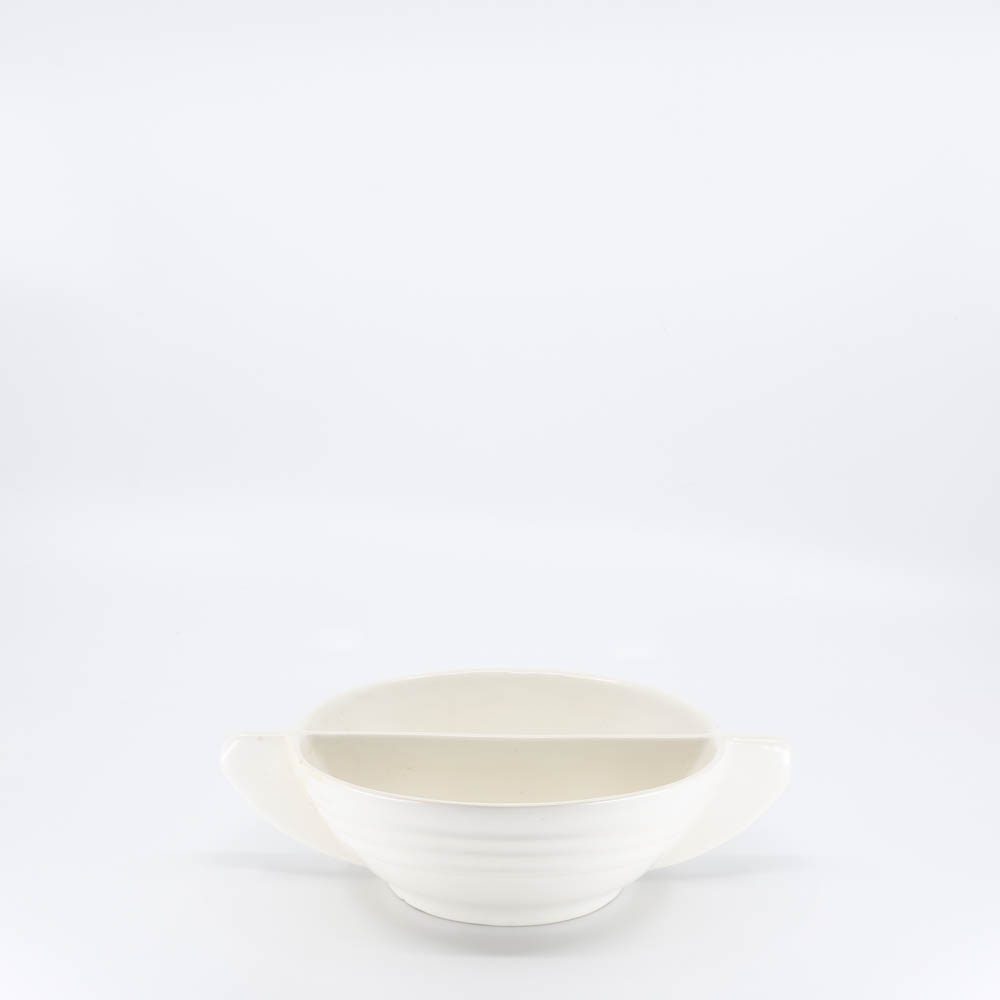 Pacific Pottery Hostessware 665 Divided Bowl Tab White