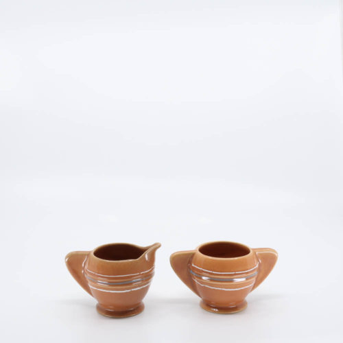 Pacific Pottery Hostessware 449-450 Demi Creamer & Sugar Dec 2006 Apricot