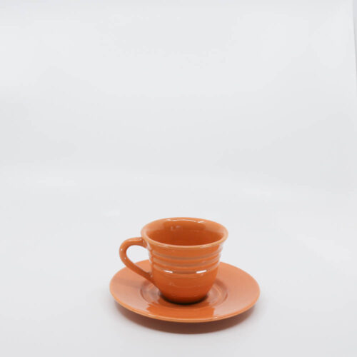 Pacific Pottery Hostessware 608-609A Teacup & Saucer Apricot Later