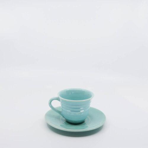 Pacific Pottery Hostessware 608-609A Teacup & Saucer Aqua