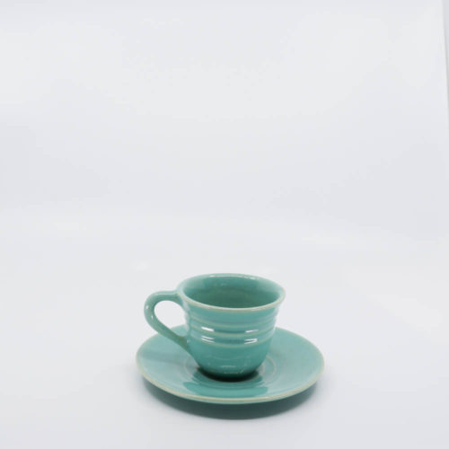 Pacific Pottery Hostessware 608-609A Teacup & Saucer Green