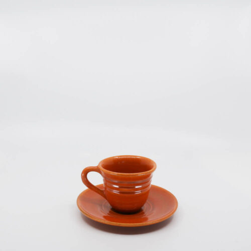 Pacific Pottery Hostessware 608-609A Teacup & Saucer Red