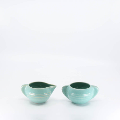 Pacific Pottery Hostessware 407-408 Creamer Sugar Green