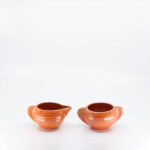 Pacific Pottery Hostessware 407-408 Creamer Sugar Red