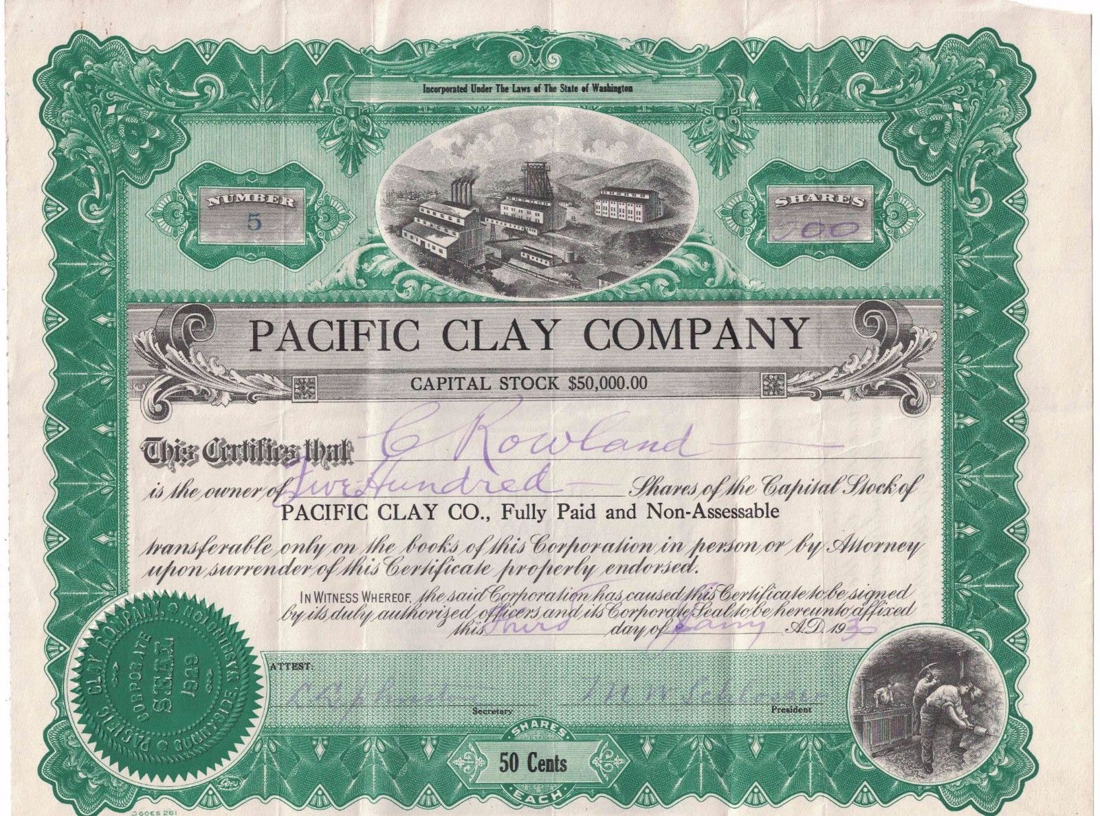 Pacific Clay Products Stock Certificate