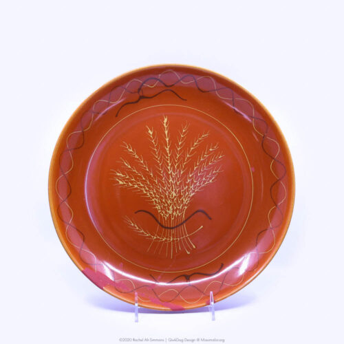 Pacific Pottery Hostessware Decorated Wheat 663 Low Bowl Red