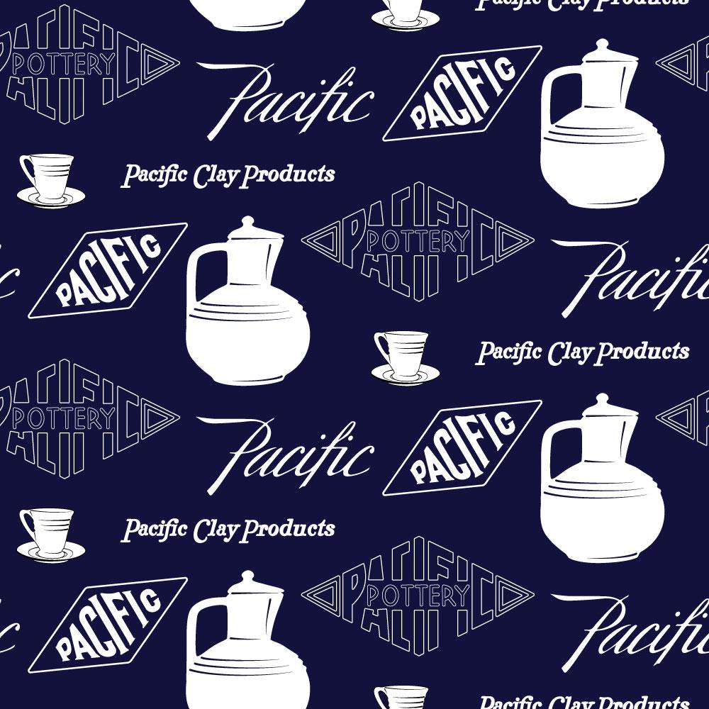 Pacific Pottery Logo Fabric Design