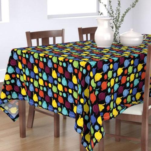 Qwkdog California Teapots Pattern Black Tablecloth 03