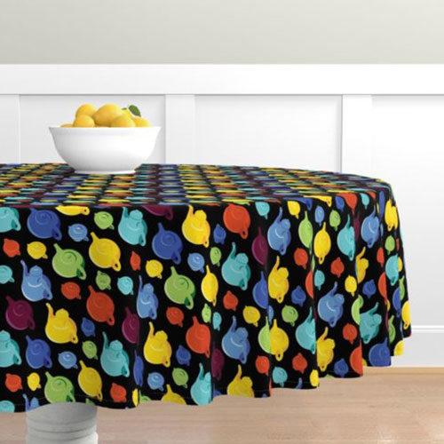 Qwkdog California Teapots Pattern Black Tablecloth 01