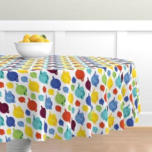 Qwkdog California Teapots Pattern White Tablecloth 01