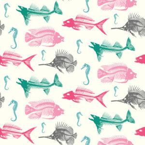 QwkDog Design Fish Skeleton Pattern Multi
