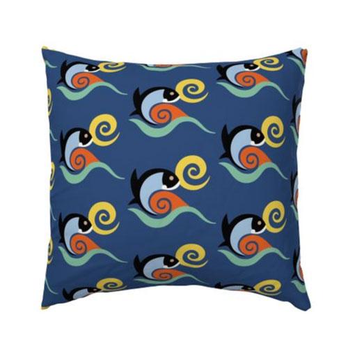 QwkDog California Fish Tile Design Pattern Pillow