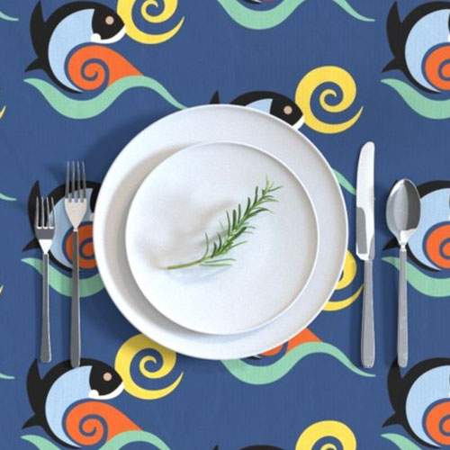QwkDog California Fish Tile Design Pattern Tablecloth 03