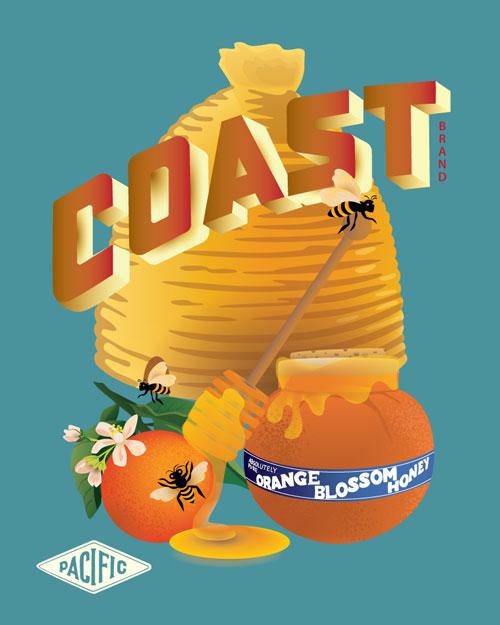 QwkDog Pacific Pottery Coast Honey Print