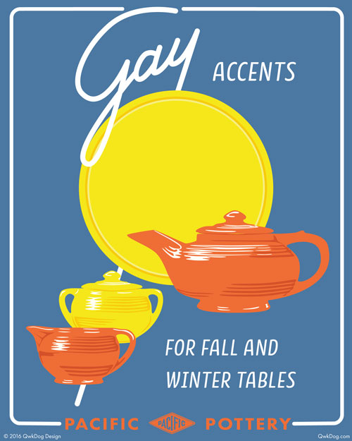 QwkDog Pacific Pottery Gay Accents Print