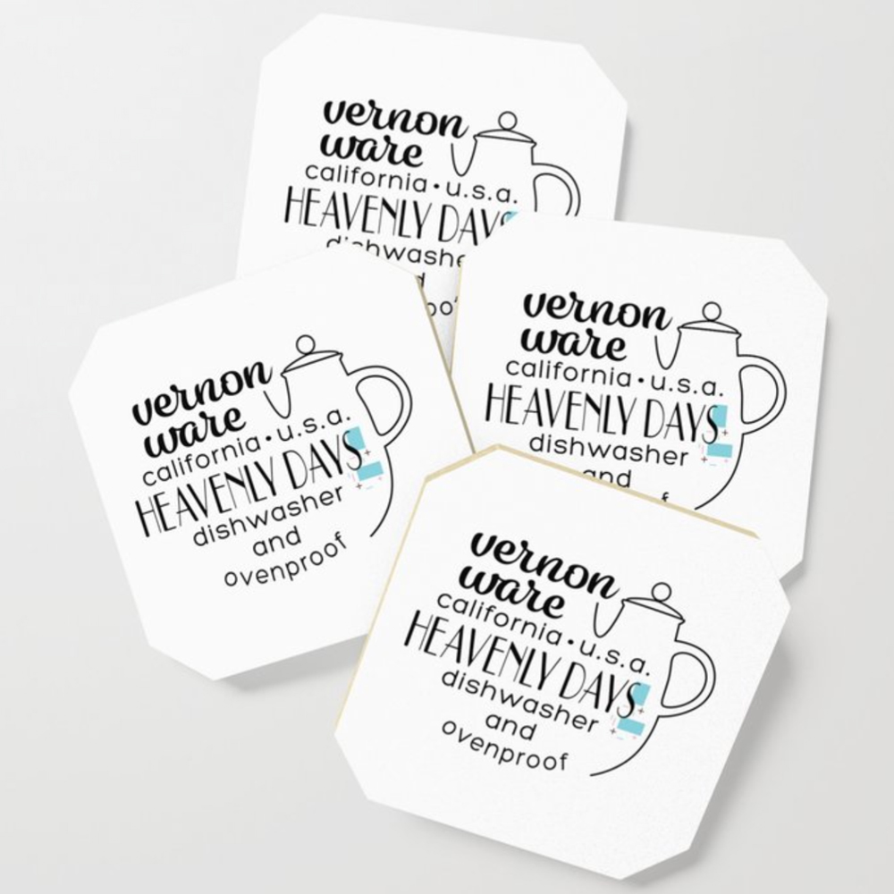 QwkDog Vernon Kilns Heavenly Days Logo Design Coasters