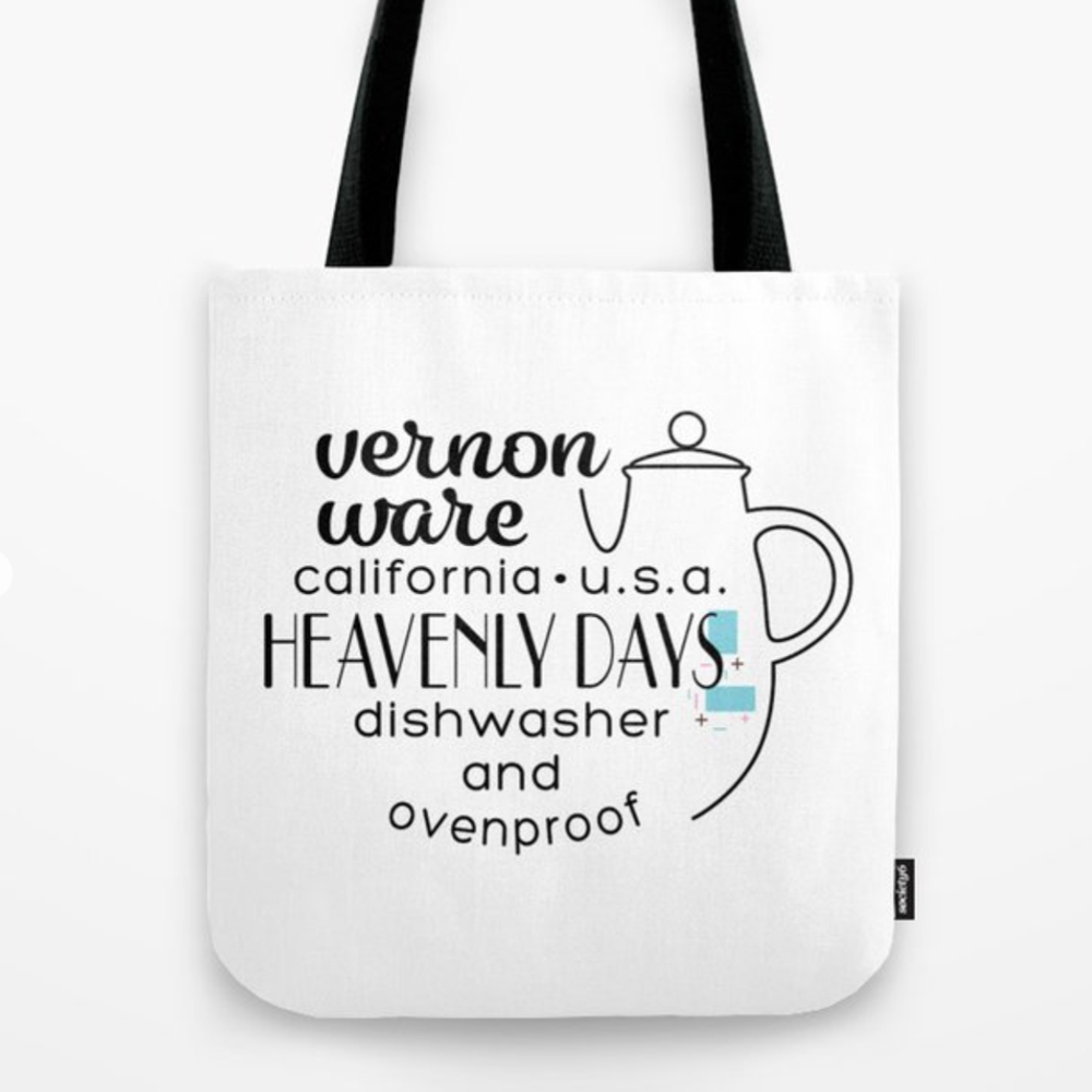 QwkDog Vernon Kilns Heavenly Days Logo Design Tote