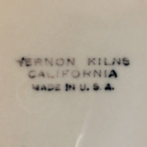 Vernon Kilns Early California Backstamp