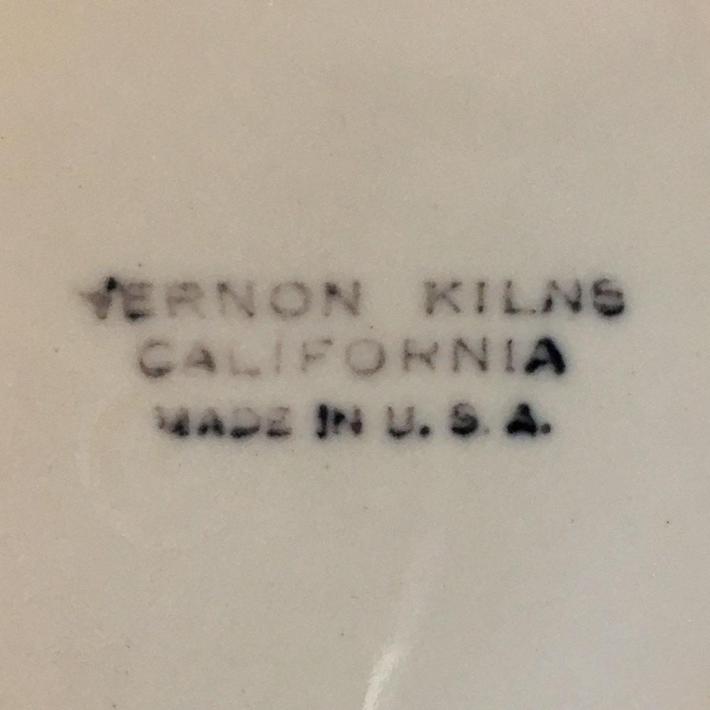 Vernon Kilns Early California Backstamp