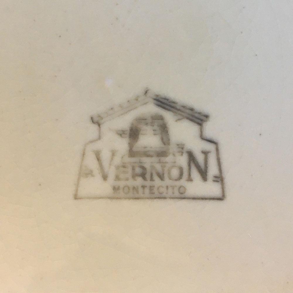 Vernon Kilns Early California Backstamp Montecito