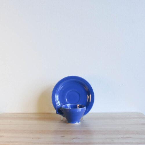 Vernon Kilns Early California Demi Cup Saucer Angled Blue