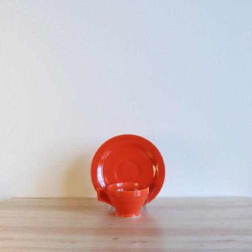 Vernon Kilns Early California Demi Cup Saucer Angled Orange