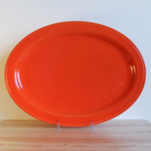 Vernon Kilns Early California Oval Platter 15in Orange