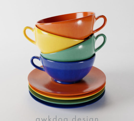 QwkDog Bauer Pottery Plainware Cup & Saucer