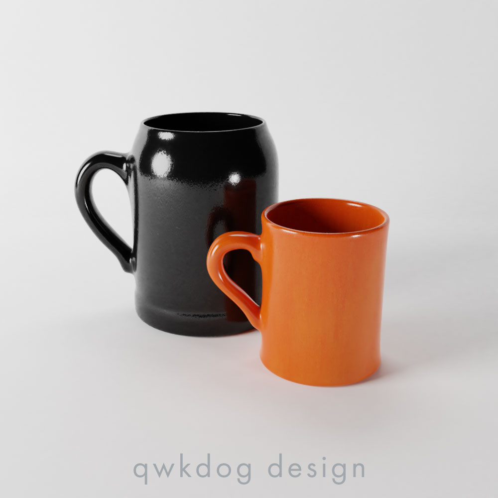 QwkDog Bauer Pottery Plainware Mugs