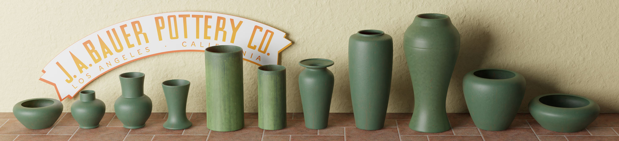 QwkDog Bauer Pottery Green Artware Banner