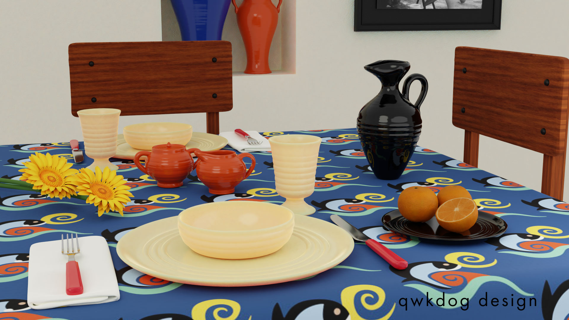 QwkDog Bauer Pottery Tablescape