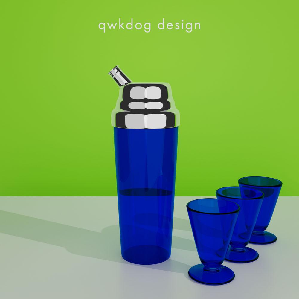 QwkDog 3D Art Deco Shaker - Blue Glass