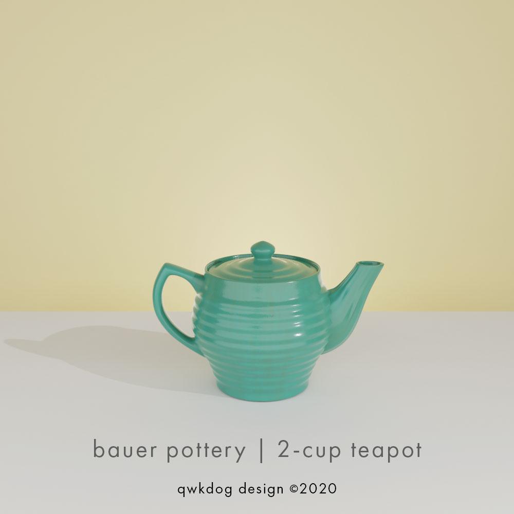 QwkDog 3d Bauer Pottery 2-Cup Teapot