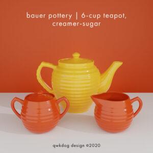 QwkDog 3d Bauer Pottery Teapot Creamer Sugar