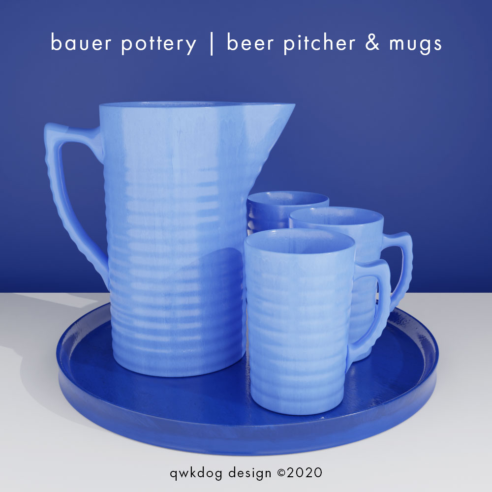 QwkDog 3d Bauer Pottery Beer Pitcher and Mugs