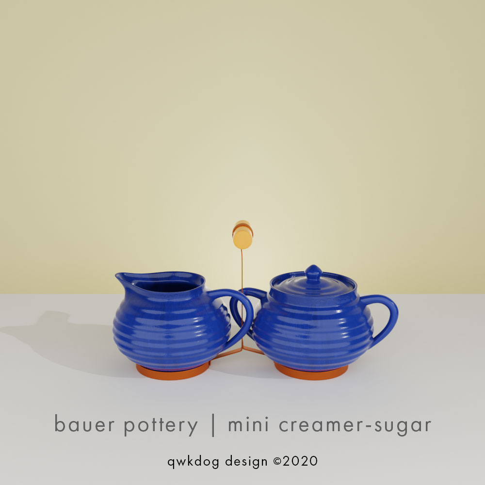 QwkDog 3d Bauer Pottery Mini Creamer Sugar