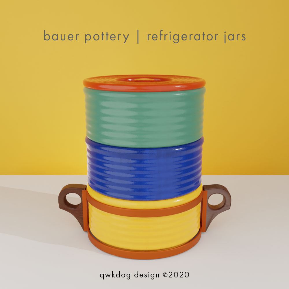 QwkDog 3D Bauer Pottery Refrigerator Jars