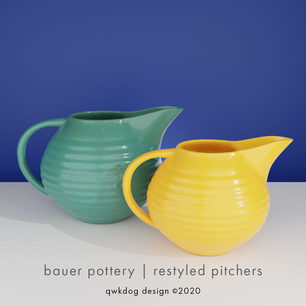 QwkDog 3D Bauer Pottery Restyled Pitchers