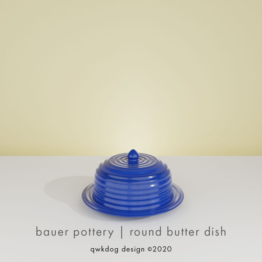 QwkDog 3D Bauer Pottery Round Butter Dish