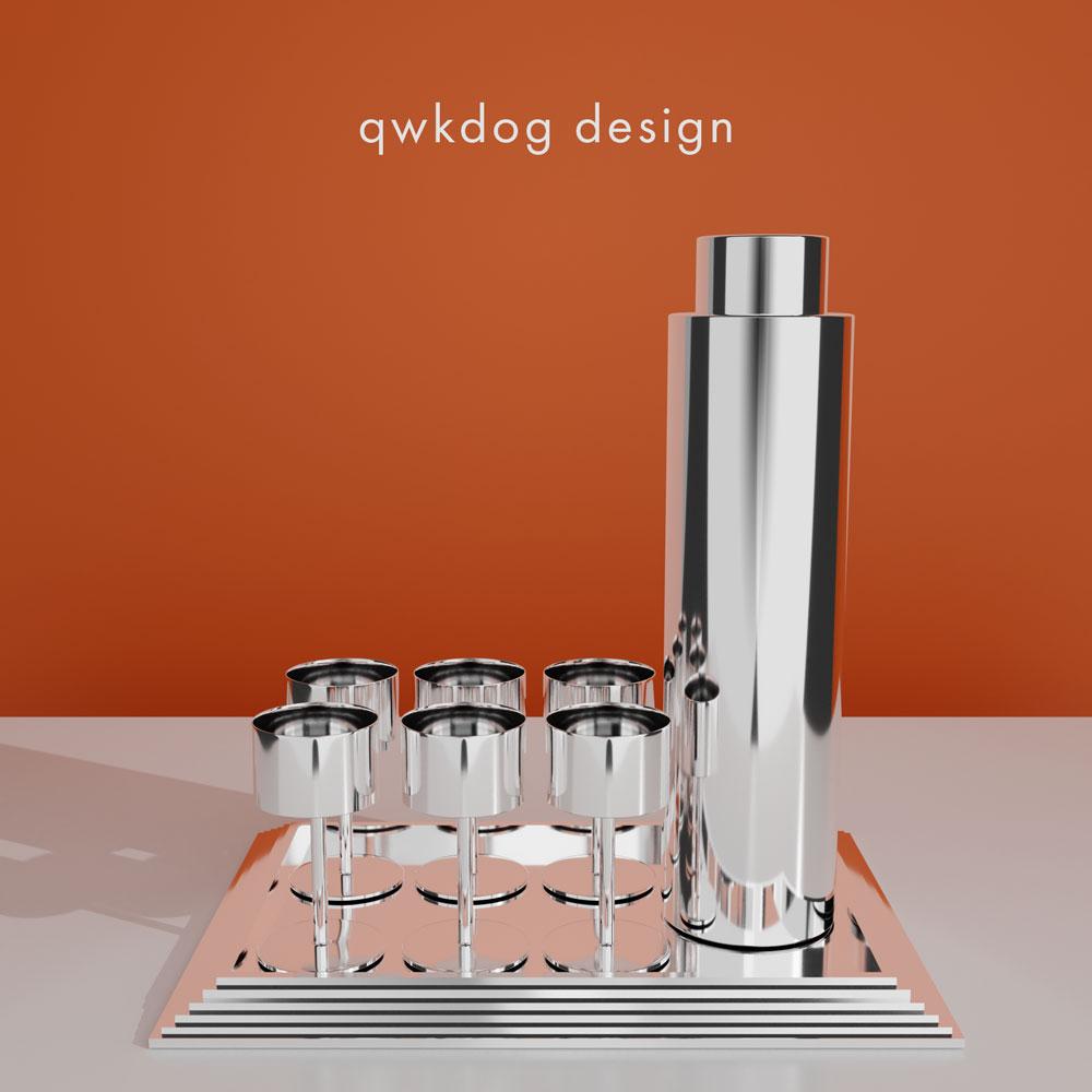 QwkDog 3D Art Deco Bel Geddes Manhattan Shaker Set