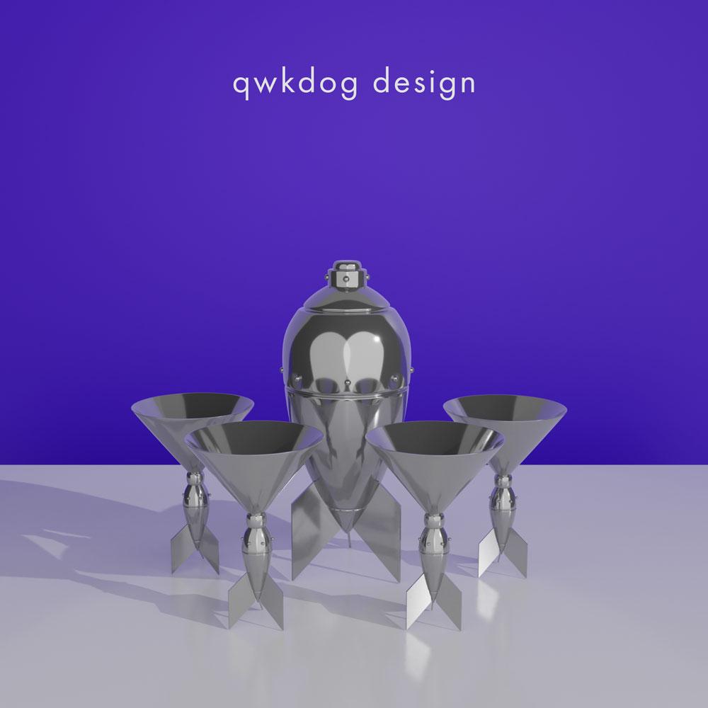 QwkDog 3D Art Deco Rocket Shaker Set